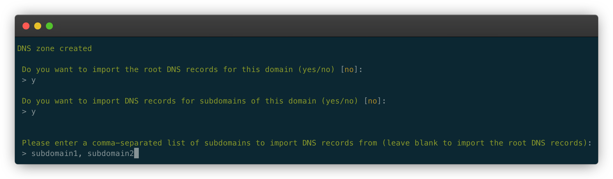 import dns records